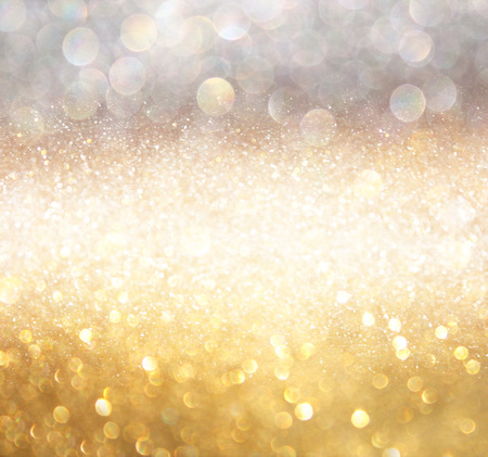 Photo for white silver and gold abstract bokeh lights. defocused background - Royalty Free Image