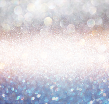 Foto per bokeh lights background with multi layers and colors of white silver and blue - Immagine Royalty Free