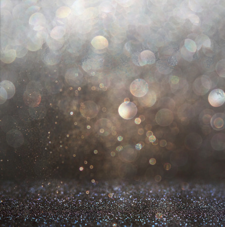 Photo for glitter vintage lights background. gold, silver, and black. de-focused. - Royalty Free Image