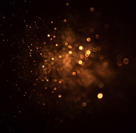 Photo for glitter vintage lights background. dark gold and black. defocused - Royalty Free Image