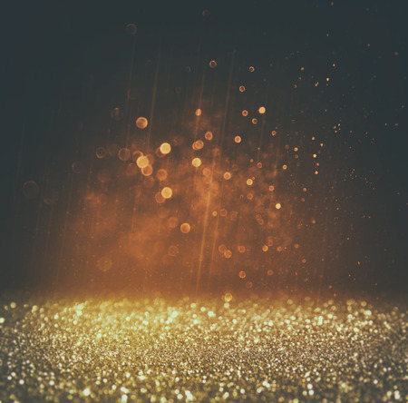 Photo for glitter vintage lights background. light gold and black - Royalty Free Image