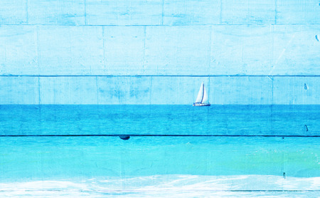 Photo pour Double exposure image of sailboat at horizon on the sea and wooden planks background, vintage filter. - image libre de droit