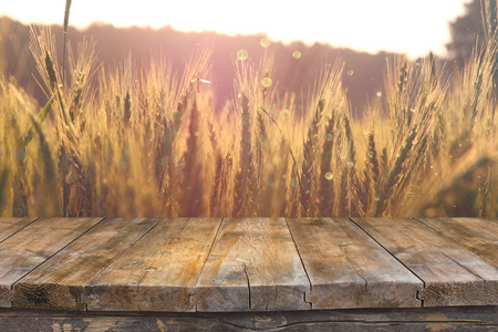Foto de Wood board table in front of field of wheat on sunset light. Ready for product display montages - Imagen libre de derechos