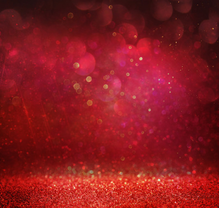Photo pour glitter vintage lights background. gold red and purple. defocused - image libre de droit