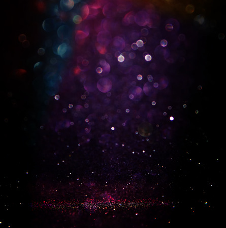 Photo for glitter vintage lights background. light silver purple blue gold and black. defocused. - Royalty Free Image