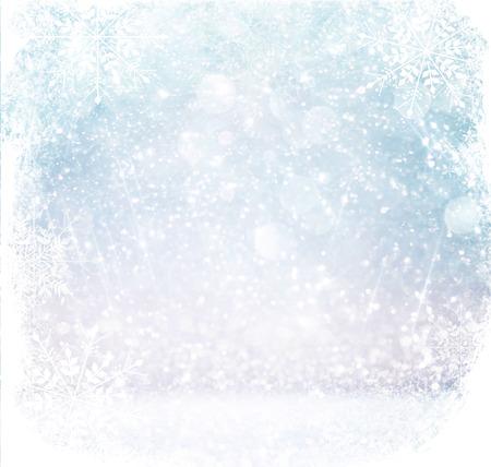 Foto de white and silver abstract bokeh lights. defocused background with snowflake overlay - Imagen libre de derechos