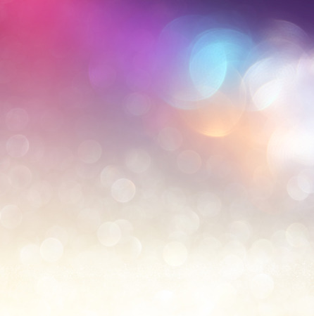 Photo pour glitter vintage lights background. light silver purple blue gold and black. defocused. - image libre de droit