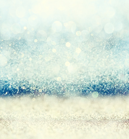 Photo for glitter vintage lights background with light burst . gold blue and white. defocused. - Royalty Free Image