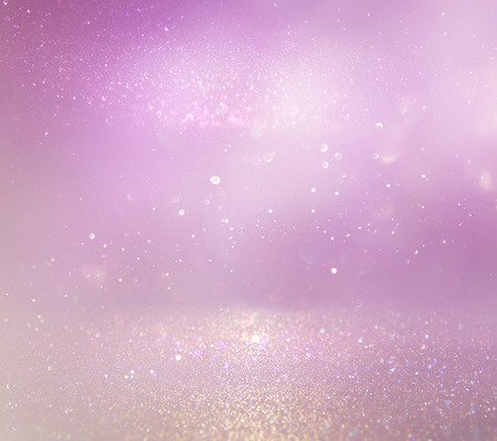 Photo pour Pastel glitter vintage lights background. purple, pink and silver. de-focused - image libre de droit