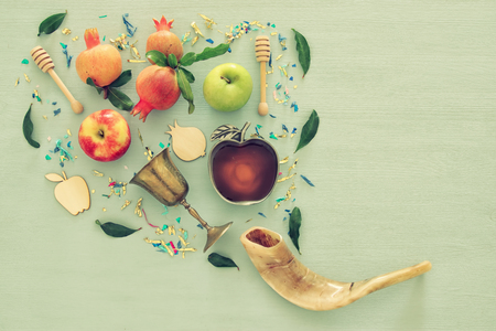 Photo pour Rosh hashanah (jewish New Year holiday) concept. Traditional symbols - image libre de droit