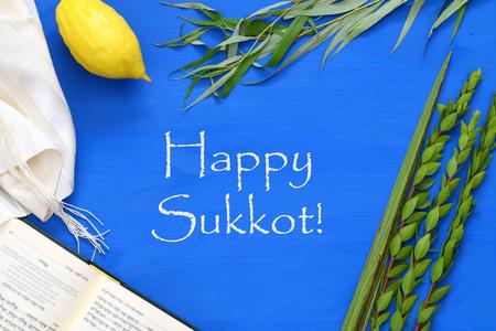 Foto de Jewish festival of Sukkot. Traditional symbols (The four species): Etrog, lulav, hadas, arava. - Imagen libre de derechos