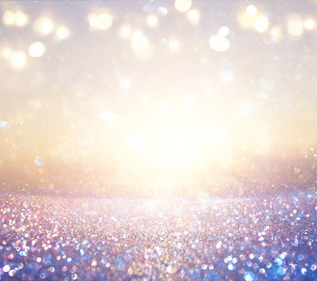 Photo for purple and pink glitter vintage lights background. defocused - Royalty Free Image
