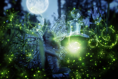 Photo for image of magical little fairy sitting in the night forest - Royalty Free Image