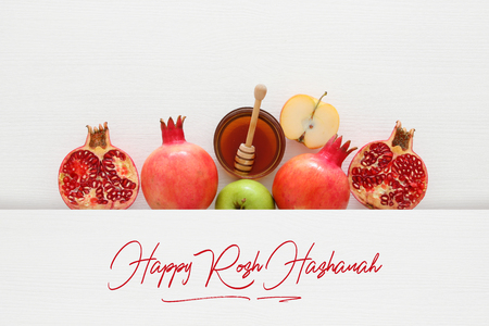 Photo for Rosh hashanah (jewish New Year holiday) concept. Traditional symbols - Royalty Free Image