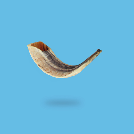 Photo pour Minimal concept of Rosh hashanah horn (jewish New Year holiday). Traditional symbol - image libre de droit