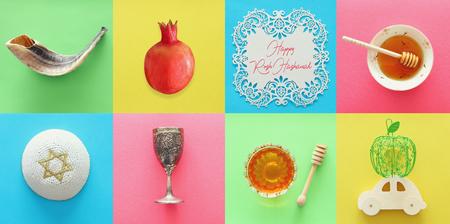 Photo pour Rosh hashanah (jewish New Year holiday) collage concept. Traditional symbols - image libre de droit