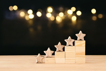 Photo pour Concept image of setting a five star goal. increase rating or ranking, evaluation and classification idea - image libre de droit