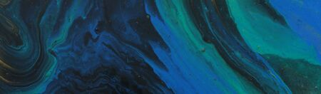 Photo pour art photography of abstract marbleized effect background. turquoise, green, blue, black and gold creative colors. Beautiful paint. banner - image libre de droit