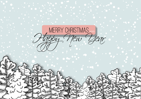 Illustration pour New year greeting card with snowy forest. Christmas winter illustration. - image libre de droit