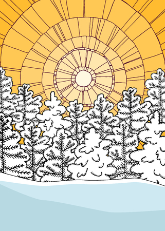 Illustration pour Winter illustration with geometric background and snowy forest. - image libre de droit