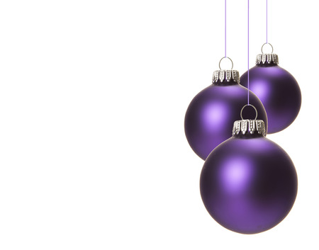 Photo pour christmas, purple christmas balls isolated hanging with white background - image libre de droit