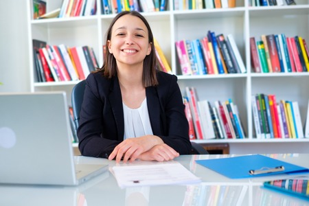 Photo for Smiling young businesswoman ready for job interview - Royalty Free Image