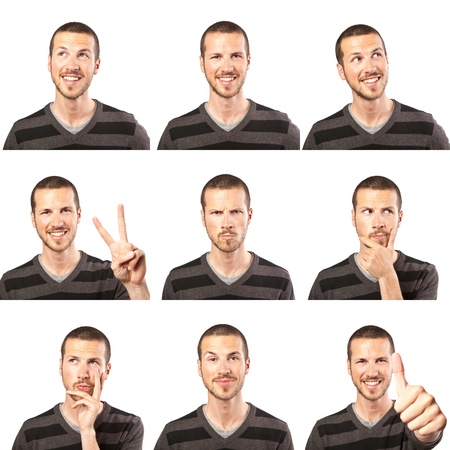 young man face expressions composite isolated on white background