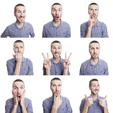 Photo pour young man funny face expressions composite isolated on white background - image libre de droit