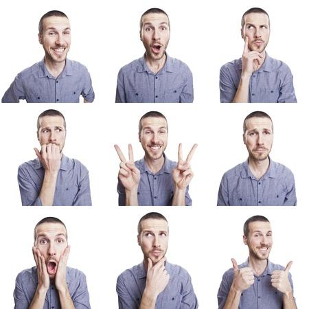 Foto de young man funny face expressions composite isolated on white background - Imagen libre de derechos