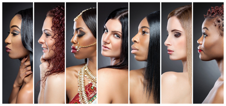 Photo pour Profile view collage of multiple beautiful women with various skin tones - image libre de droit