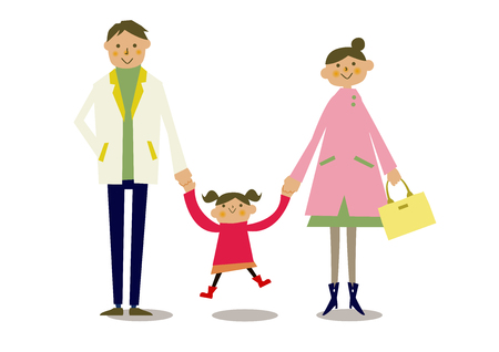 Illustration pour Spring parent-child clip art. Illustration of the family of spring clothes. Illustration of a person. - image libre de droit