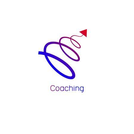 Ilustración de Logo, icon coaching. Vector spiral arrow flying up - Imagen libre de derechos