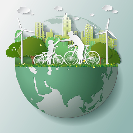 Illustration pour Paper folding art origami style vector illustration. Green renewable energy ecology technology power saving environmentally friendly concepts, father son join hands cycling in parks near city on globe - image libre de droit