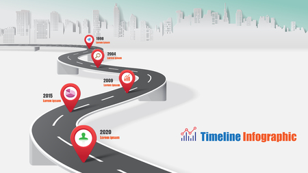 Illustration pour Business road map timeline infographic expressway concepts designed for abstract background template milestone diagram process technology digital marketing data presentation chart Vector illustration - image libre de droit