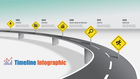 Illustration pour Business road map timeline infographic expressway concepts, Vector Illustration - image libre de droit