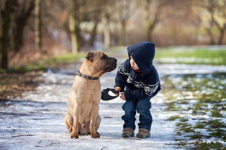 Photo pour Boy with cute dog, giving him a kiss - image libre de droit