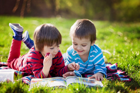 Photo pour Two adorable cute caucasian boys, lying in the park in a fine sunny afternoon, reading a book and eating strawberries, educating themselves and having fun - image libre de droit