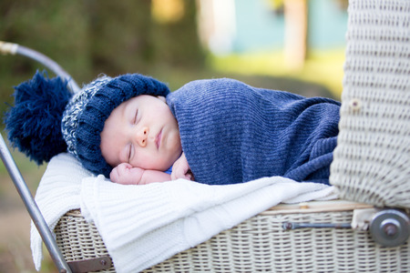 Photo pour Little newborn baby boy, sleeping in old retro stroller in forest, autumn time, wrapped in scarf and knitted hat. Posed baby in retro pram, infant sleeping in vintage stroller in the woods - image libre de droit