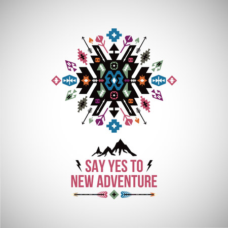 Illustration for Fancy abstract geometric vector simbol in tribal style - Royalty Free Image