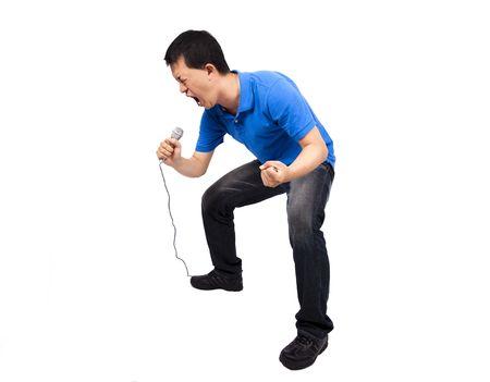 Young man enjoy singing