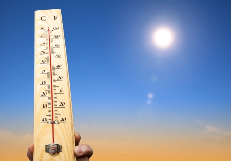 hand holding thermometer and heat weather