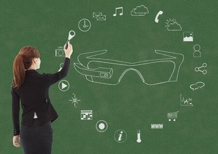 business woman handwriting wearable glasses applications