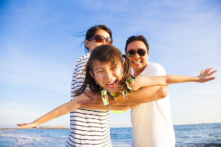 Photo for happy family enjoy summer vacation on the beach - Royalty Free Image