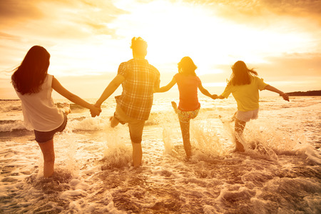 Photo for group of happy young people playing on the beach - Royalty Free Image