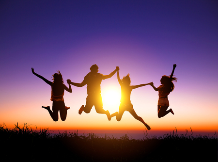 Photo for group of happy young people jumping on the mountain - Royalty Free Image