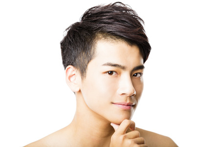 Photo for Closeup portrait of attractive young man face - Royalty Free Image