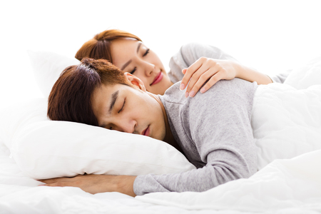 Photo for happy young lovely couple lying in a bed - Royalty Free Image