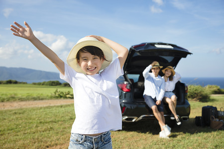 Photo for happy Family with little girl travel by car - Royalty Free Image