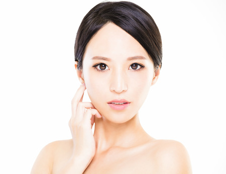Photo for closeup   young  woman face with clean  skin - Royalty Free Image