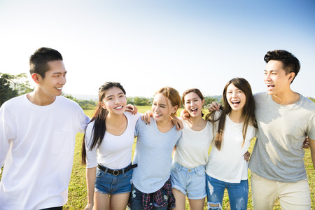 Photo for happy young asian group walking together - Royalty Free Image